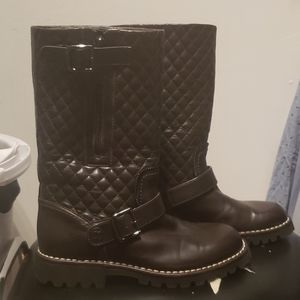 CHANEL quilted combat boots